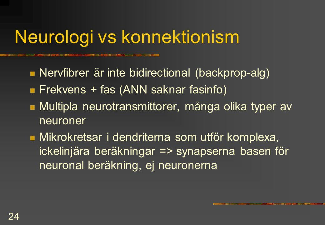 24 Neurologi vs konnektionism Nervfibrer är inte bidirectional (backprop-alg) Frekvens + fas (ANN saknar fasinfo) Multipla neurotransmittorer, många olika typer av neuroner Mikrokretsar i dendriterna som utför komplexa, ickelinjära beräkningar => synapserna basen för neuronal beräkning, ej neuronerna