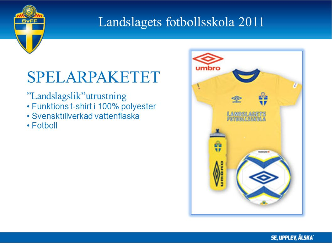 """SPELARPAKETET """"Landslagslik""""utrustning Funktions t-shirt i 100% polyester Svensktillverkad vattenflaska Fotboll Landslagets fotbollsskola 2011"""