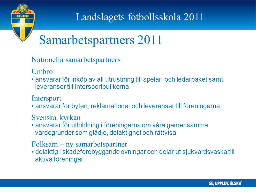 Samarbetspartners 2011 Nationella samarbetspartners Umbro ansvarar för inköp av all utrustning till spelar- och ledarpaket samt leveranser till Inters