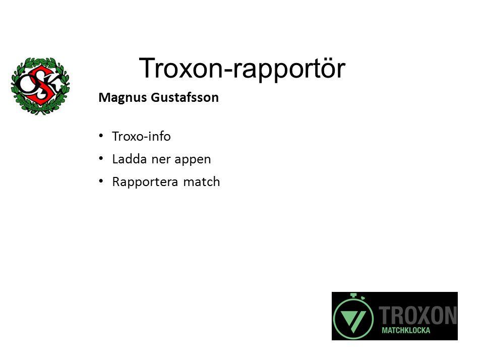 Troxon-rapportör Magnus Gustafsson Troxo-info Ladda ner appen Rapportera match