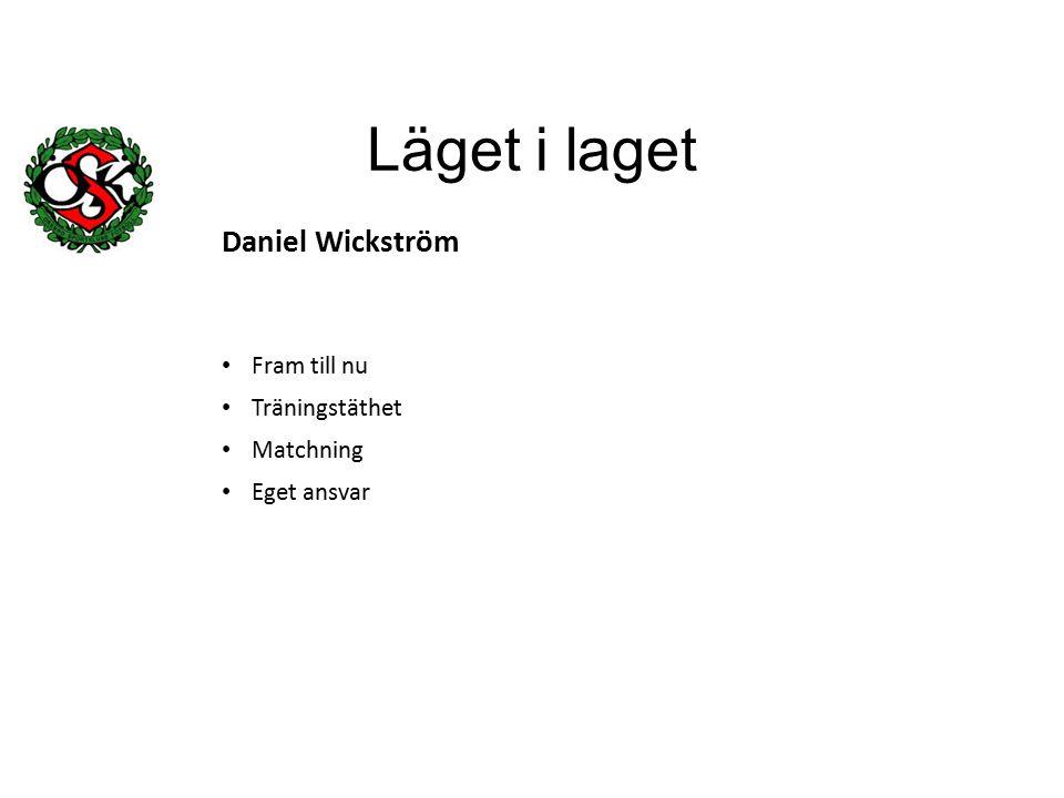 Läget i laget Daniel Wickström Fram till nu Träningstäthet Matchning Eget ansvar
