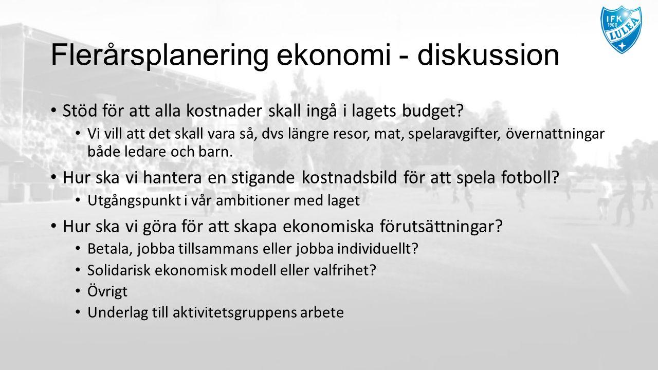 Flerårsplanering ekonomi - diskussion Stöd för att alla kostnader skall ingå i lagets budget? Vi vill att det skall vara så, dvs längre resor, mat, sp