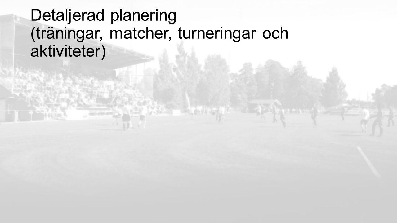 Detaljerad planering (träningar, matcher, turneringar och aktiviteter)