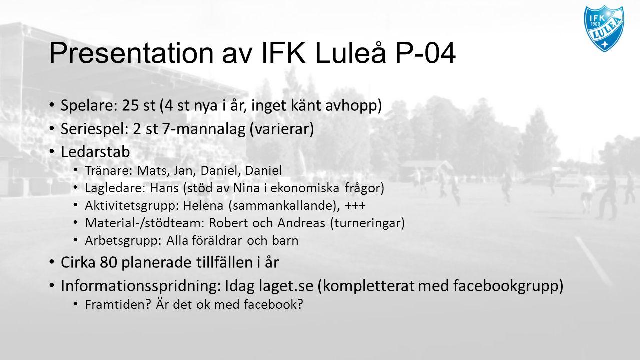 Presentation av IFK Luleå P-04 Spelare: 25 st (4 st nya i år, inget känt avhopp) Seriespel: 2 st 7-mannalag (varierar) Ledarstab Tränare: Mats, Jan, Daniel, Daniel Lagledare: Hans (stöd av Nina i ekonomiska frågor) Aktivitetsgrupp: Helena (sammankallande), +++ Material-/stödteam: Robert och Andreas (turneringar) Arbetsgrupp: Alla föräldrar och barn Cirka 80 planerade tillfällen i år Informationsspridning: Idag laget.se (kompletterat med facebookgrupp) Framtiden.