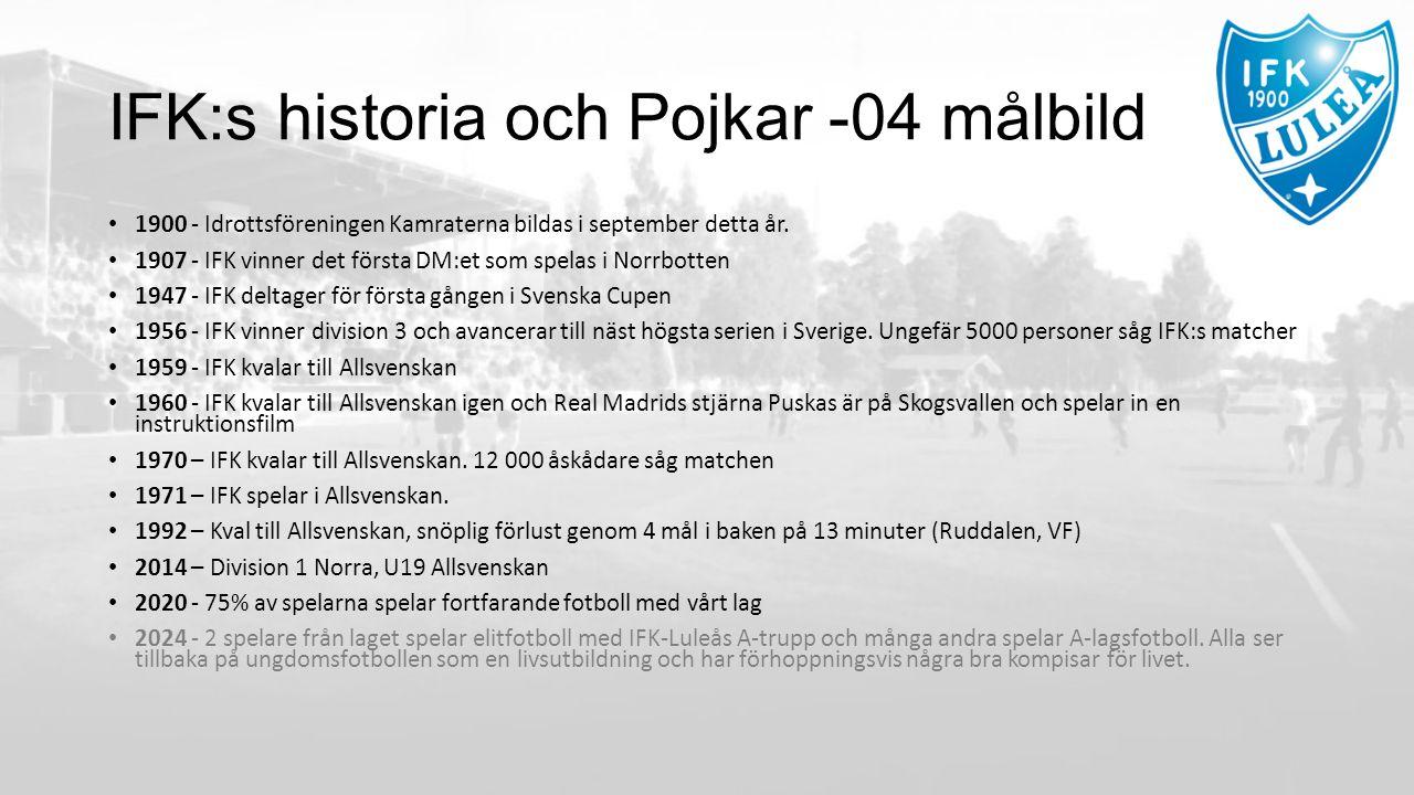 IFK:s historia och Pojkar -04 målbild 1900 - Idrottsföreningen Kamraterna bildas i september detta år.