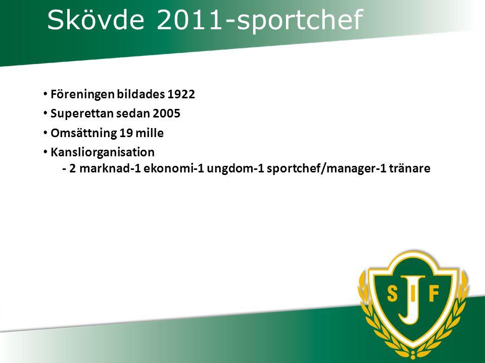 Skövde 2011-sportchef Föreningen bildades 1922 Superettan sedan 2005 Omsättning 19 mille Kansliorganisation - 2 marknad-1 ekonomi-1 ungdom-1 sportchef/manager-1 tränare