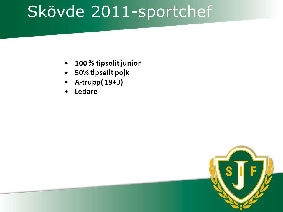 Skövde 2011-sportchef 100 % tipselit junior 50% tipselit pojk A-trupp( 19+3) Ledare