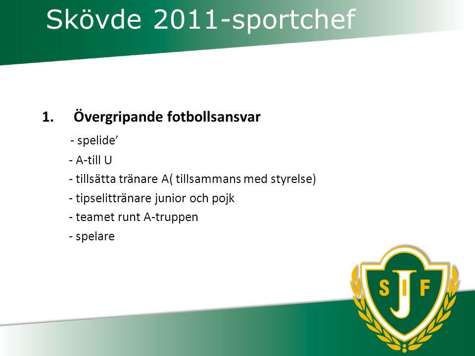 Skövde 2011-sportchef 1.Övergripande fotbollsansvar - spelide' - A-till U - tillsätta tränare A( tillsammans med styrelse) - tipselittränare junior och pojk - teamet runt A-truppen - spelare