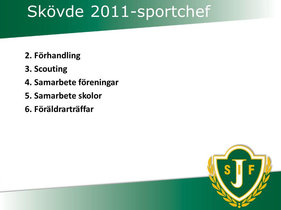 Skövde 2011-sportchef 2.Förhandling 3. Scouting 4.