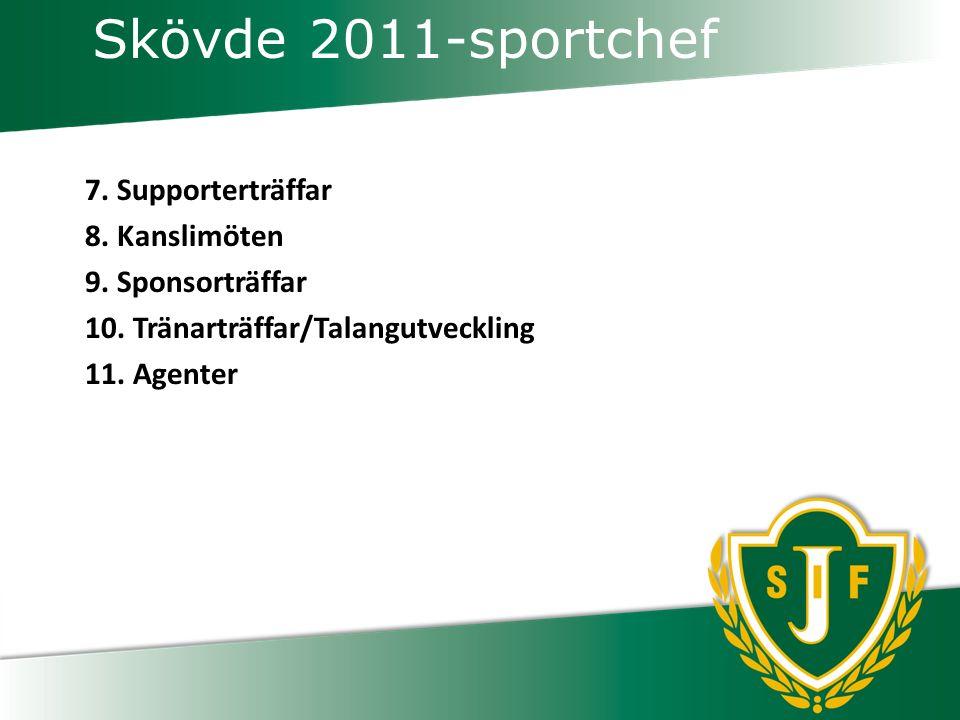 Skövde 2011-sportchef 7.Supporterträffar 8. Kanslimöten 9.