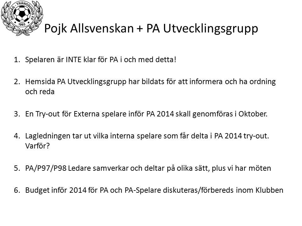 Pojk Allsvenskan + PA Utvecklingsgrupp 1.Spelaren är INTE klar för PA i och med detta.