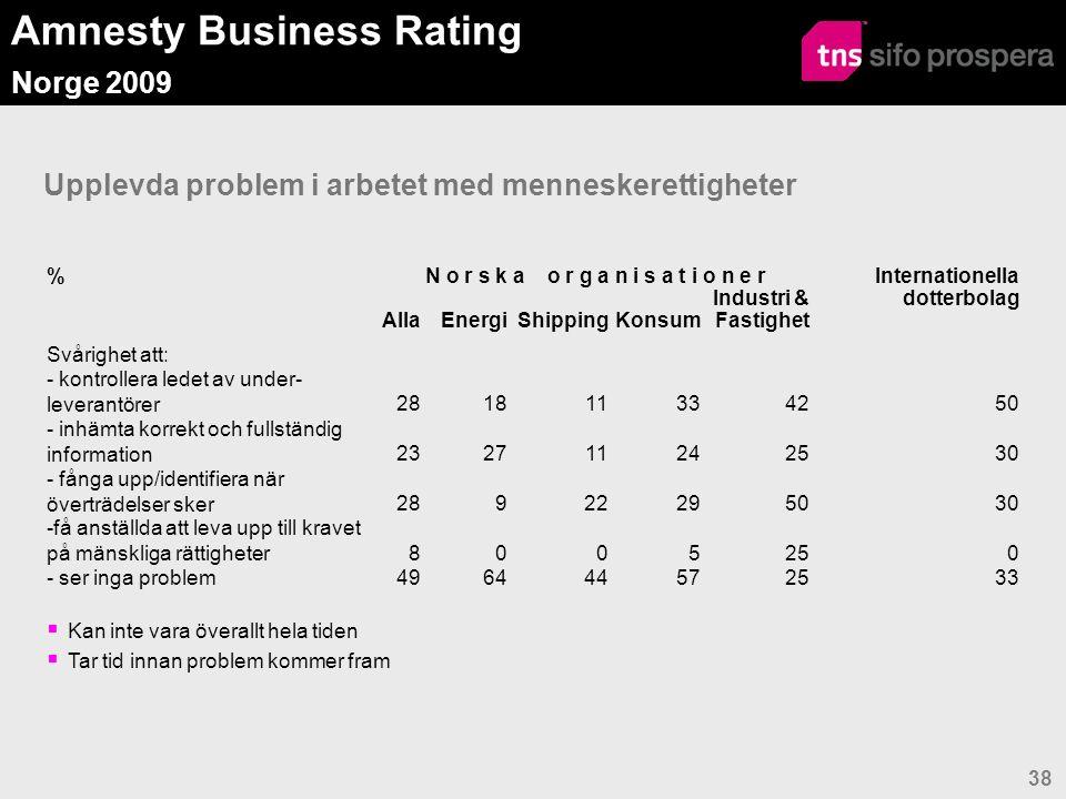 Amnesty Business Rating Norge 2009 38 Upplevda problem i arbetet med menneskerettigheter  Kan inte vara överallt hela tiden  Tar tid innan problem kommer fram %N o r s k a o r g a n i s a t i o n e r Internationella dotterbolag AllaEnergiShippingKonsum Industri & Fastighet Svårighet att: - kontrollera ledet av under- leverantörer281811334250 - inhämta korrekt och fullständig information232711242530 - fånga upp/identifiera när överträdelser sker28922295030 -få anställda att leva upp till kravet på mänskliga rättigheter8005250 - ser inga problem496444572533
