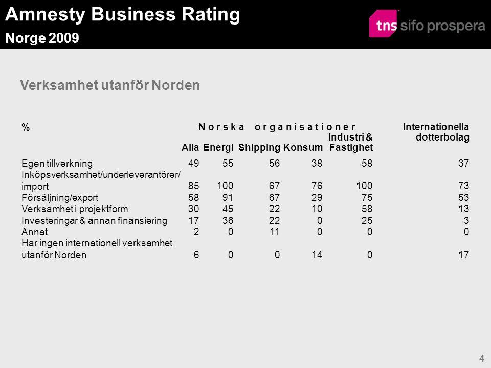 Amnesty Business Rating Norge 2009 4 Verksamhet utanför Norden %N o r s k a o r g a n i s a t i o n e r Internationella dotterbolag AllaEnergiShippingKonsum Industri & Fastighet Egen tillverkning495556385837 Inköpsverksamhet/underleverantörer/ import85100677610073 Försäljning/export589167297553 Verksamhet i projektform304522105813 Investeringar & annan finansiering1736220253 Annat2011000 Har ingen internationell verksamhet utanför Norden60014017