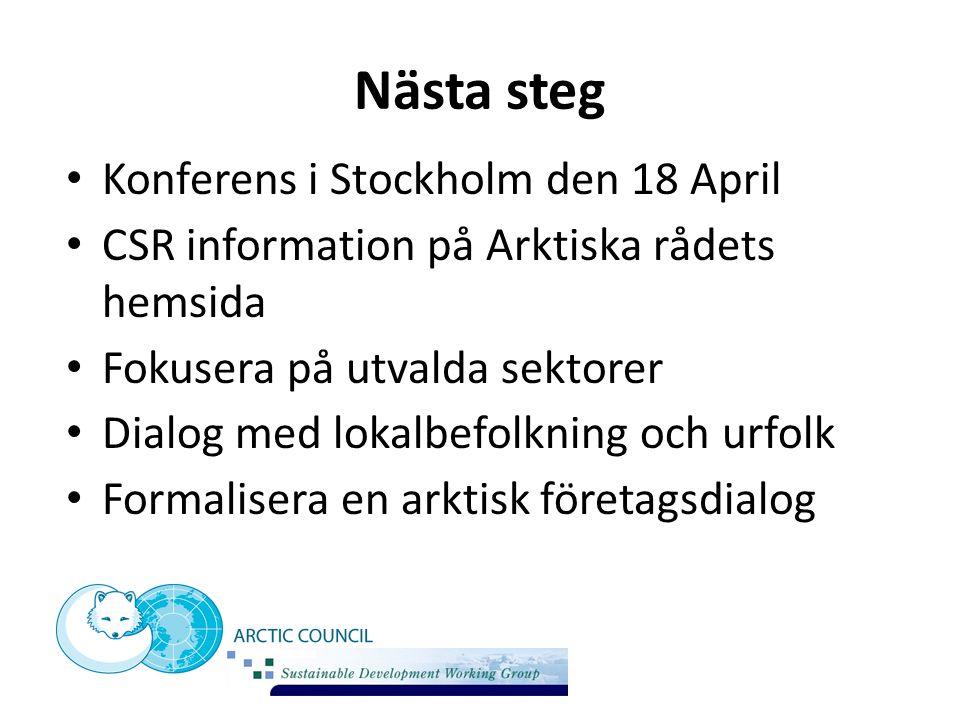 Nästa steg Konferens i Stockholm den 18 April CSR information på Arktiska rådets hemsida Fokusera på utvalda sektorer Dialog med lokalbefolkning och u