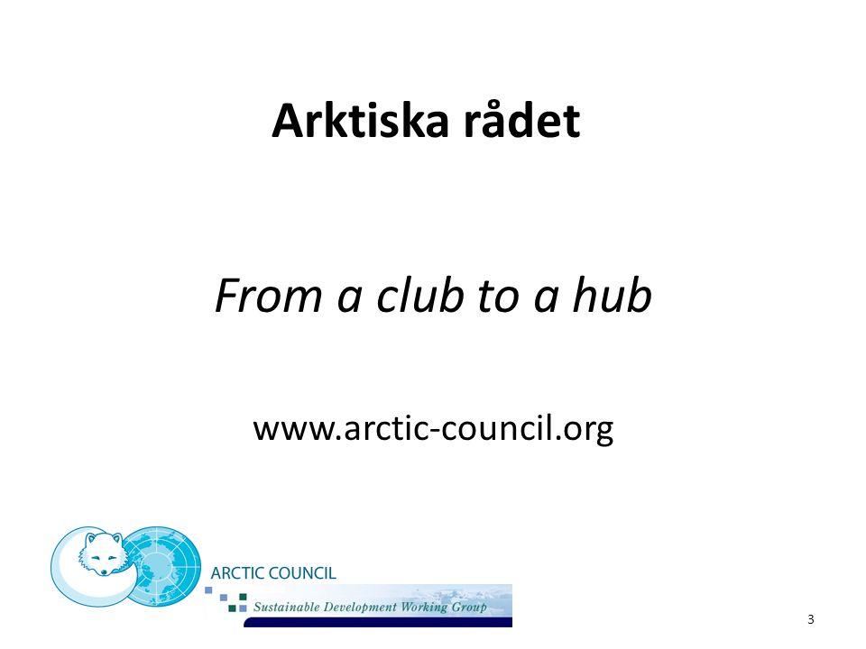 Arktiska rådet Samarbete mellan 8 medlemsstater: USA, Kanada, Ryssland och de fem nordiska länderna 6 Urfolksorganisationer 6 Arbetsgrupper Bildades 1996.