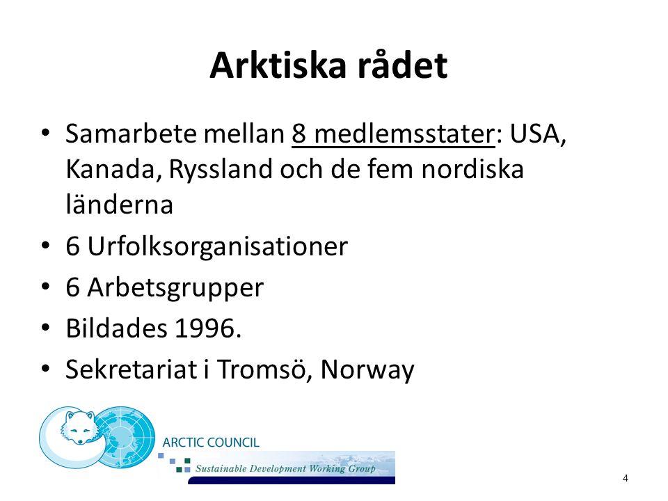 Arktiska rådet Samarbete mellan 8 medlemsstater: USA, Kanada, Ryssland och de fem nordiska länderna 6 Urfolksorganisationer 6 Arbetsgrupper Bildades 1