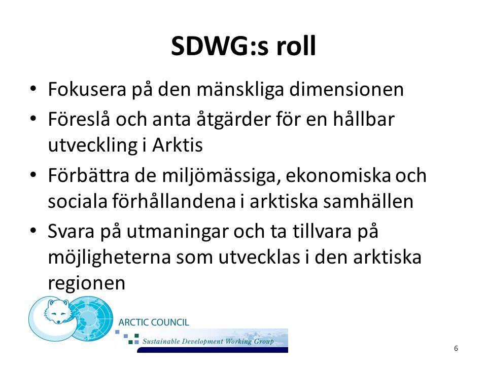 SDWG:s roll Fokusera på den mänskliga dimensionen Föreslå och anta åtgärder för en hållbar utveckling i Arktis Förbättra de miljömässiga, ekonomiska o