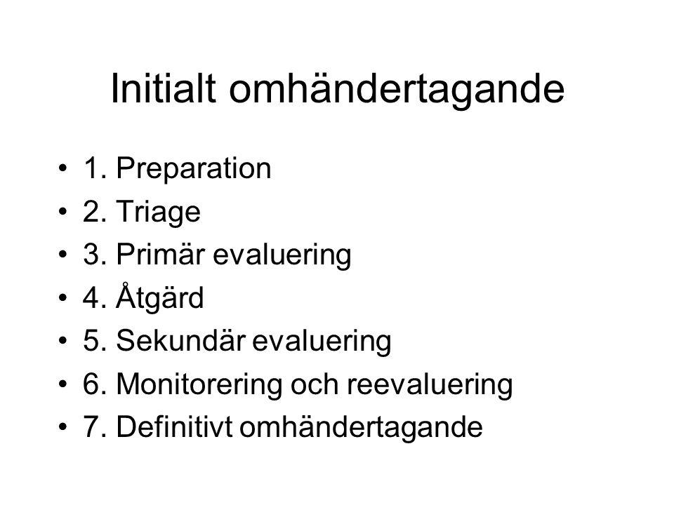 Ventilation – åtgärda: Ge syrgas (12-15 l/min), behållare Sätt på pulsoxymeter (95 % sat) Thoraxdrän vid nedsatt andningsljud (allvarligt trauma) Midaxillärt i 4-5.e IC (vanl.