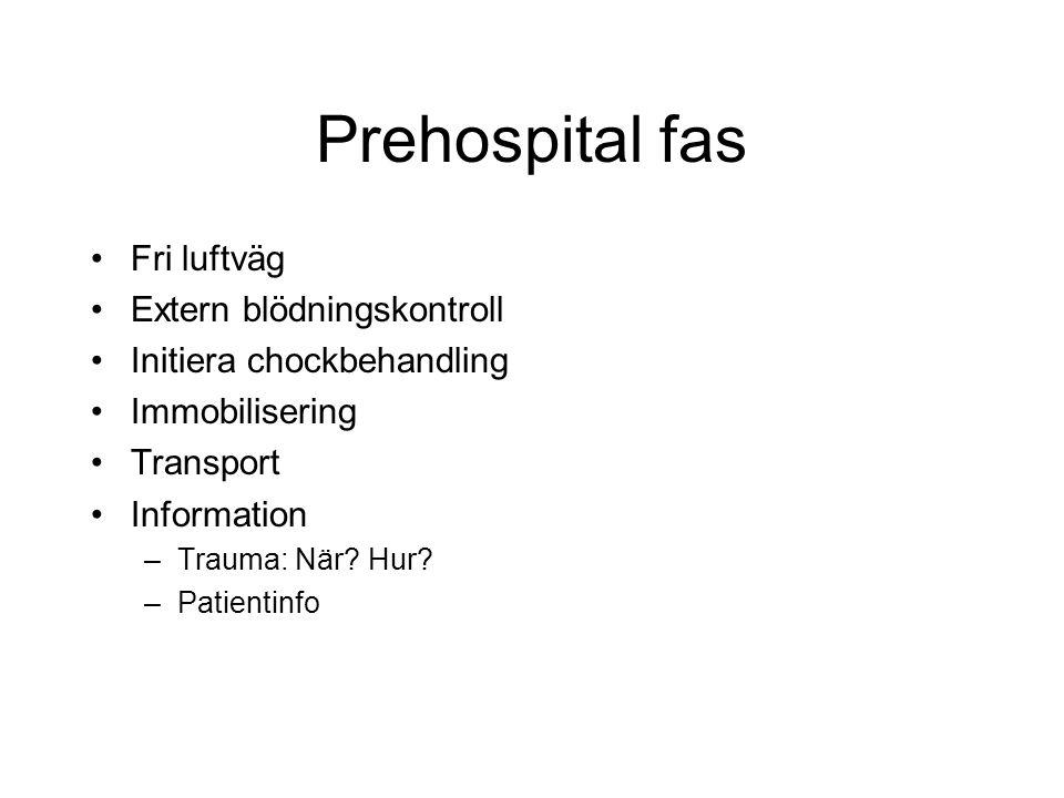 Prehospital fas Fri luftväg Extern blödningskontroll Initiera chockbehandling Immobilisering Transport Information –Trauma: När.