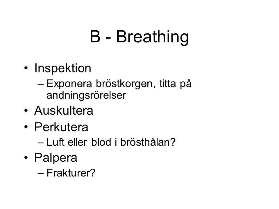 B - Breathing Inspektion –Exponera bröstkorgen, titta på andningsrörelser Auskultera Perkutera –Luft eller blod i brösthålan.