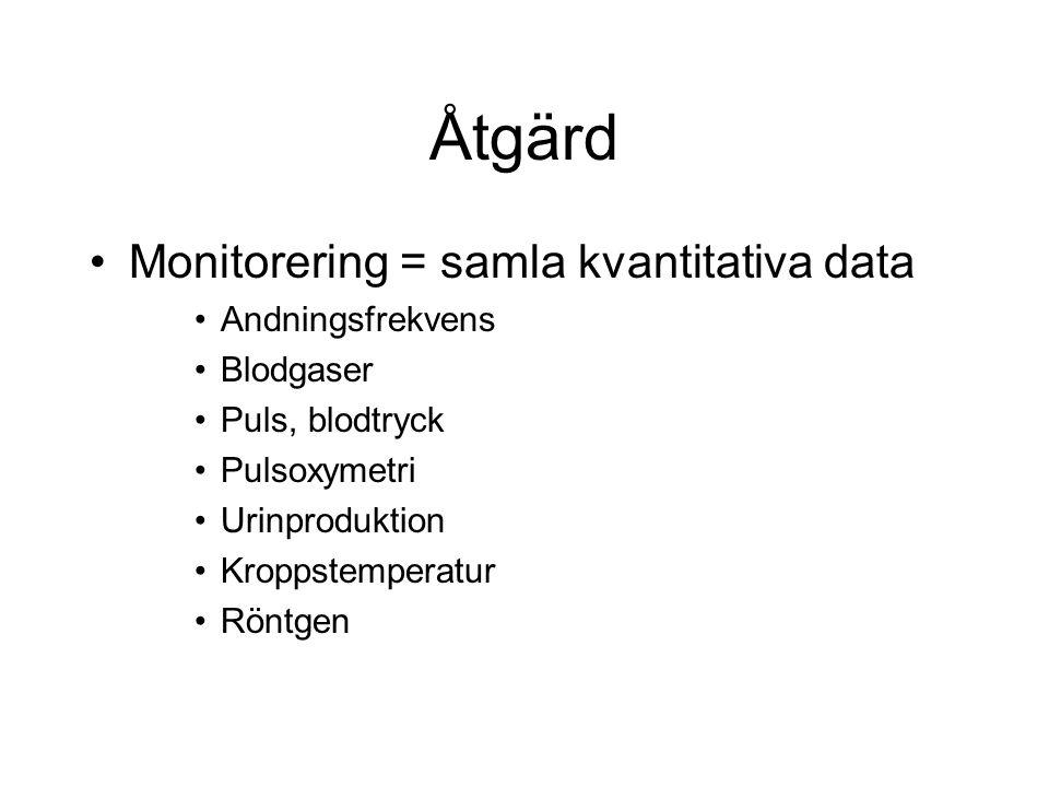 Åtgärd Monitorering = samla kvantitativa data Andningsfrekvens Blodgaser Puls, blodtryck Pulsoxymetri Urinproduktion Kroppstemperatur Röntgen