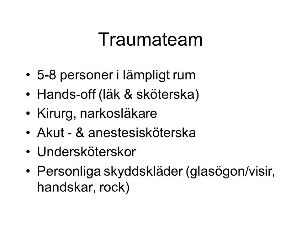 Traumateam 5-8 personer i lämpligt rum Hands-off (läk & sköterska) Kirurg, narkosläkare Akut - & anestesisköterska Undersköterskor Personliga skyddskläder (glasögon/visir, handskar, rock)