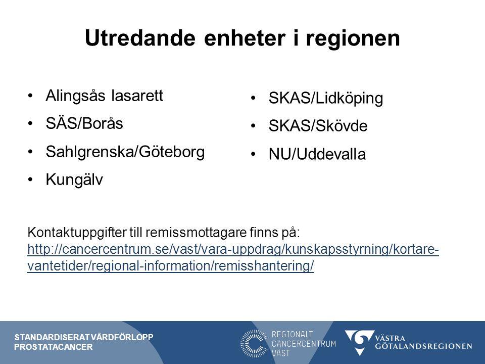 Utredande enheter i regionen Alingsås lasarett SÄS/Borås Sahlgrenska/Göteborg Kungälv Kontaktuppgifter till remissmottagare finns på: http://cancercentrum.se/vast/vara-uppdrag/kunskapsstyrning/kortare- vantetider/regional-information/remisshantering/ http://cancercentrum.se/vast/vara-uppdrag/kunskapsstyrning/kortare- vantetider/regional-information/remisshantering/ STANDARDISERAT VÅRDFÖRLOPP PROSTATACANCER SKAS/Lidköping SKAS/Skövde NU/Uddevalla