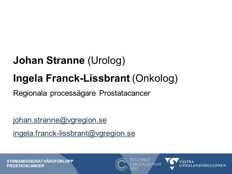 Johan Stranne (Urolog) Ingela Franck-Lissbrant (Onkolog) Regionala processägare Prostatacancer johan.stranne@vgregion.se ingela.franck-lissbrant@vgregion.se STANDARDISERAT VÅRDFÖRLOPP PROSTATACANCER