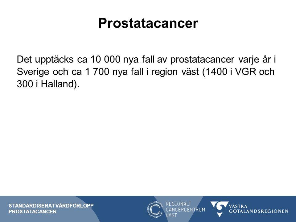 Misstanke Följande ska föranleda misstanke hos män över 40 år: tilltagande skelettsmärtor skelettmetastaser utan känd primärtumör långvarig hematospermi (fler än 3 episoder under mer än 1 månad, mannen bör även utredas för infektion) vattenkastningsbesvär (IPSS ≥ 20 eller kateterbehov) som har ökat påtagligt under det senaste året Observera att malignitetsmisstänkt palpationsfynd i prostatakörteln alltid innebär välgrundad misstanke STANDARDISERAT VÅRDFÖRLOPP PROSTATACANCER