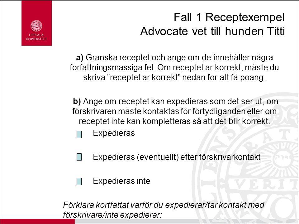 Fall 1 Receptexempel Advocate vet till hunden Titti a) Granska receptet och ange om de innehåller några författningsmässiga fel.