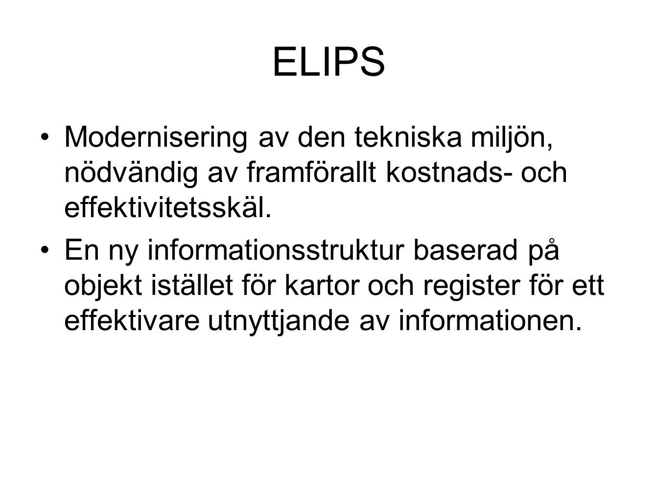 ELIPS Modernisering av den tekniska miljön, nödvändig av framförallt kostnads- och effektivitetsskäl. En ny informationsstruktur baserad på objekt ist