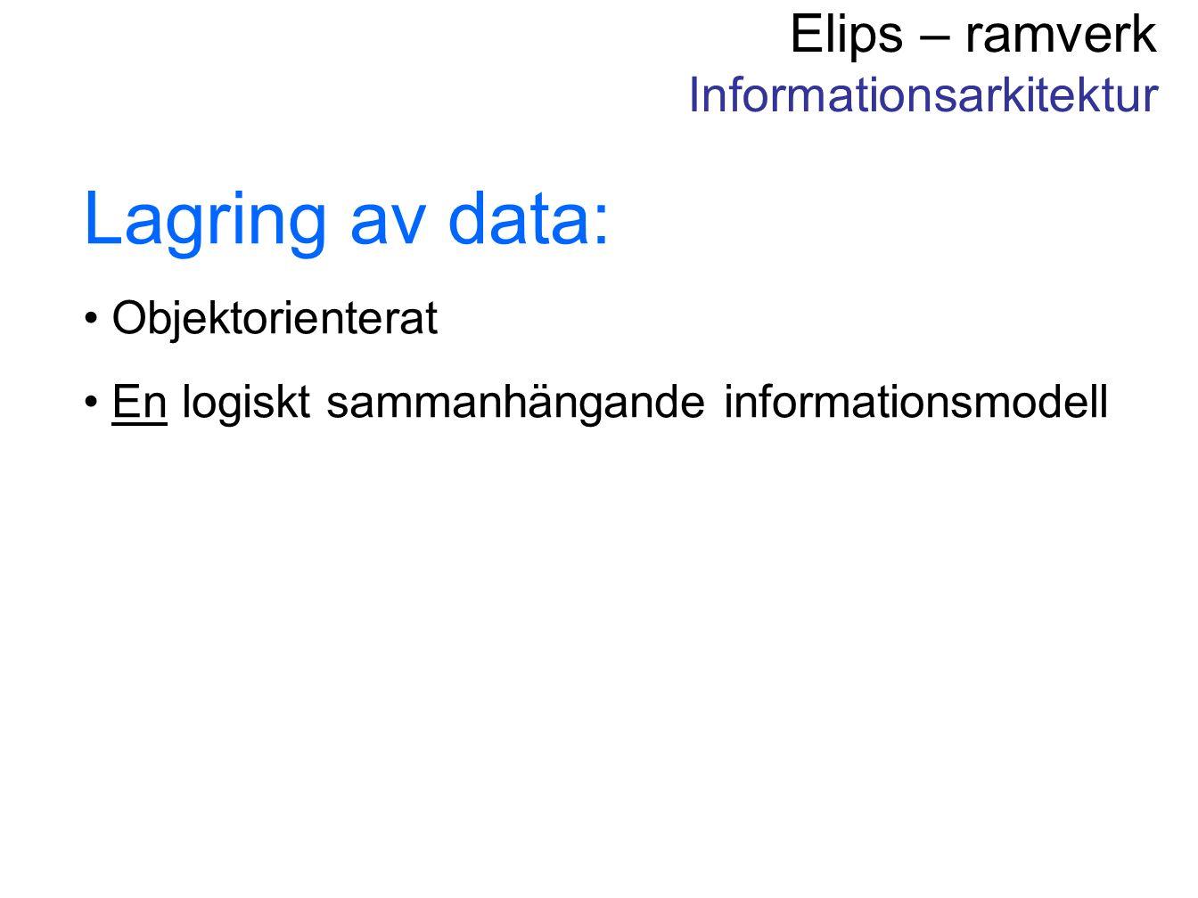 Elips – ramverk Informationsarkitektur Lagring av data: Objektorienterat En logiskt sammanhängande informationsmodell