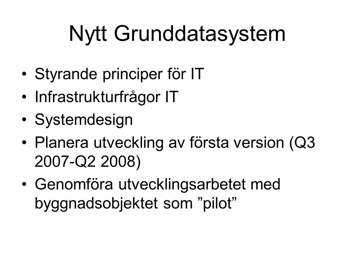 Nytt Grunddatasystem Styrande principer för IT Infrastrukturfrågor IT Systemdesign Planera utveckling av första version (Q3 2007-Q2 2008) Genomföra utvecklingsarbetet med byggnadsobjektet som pilot