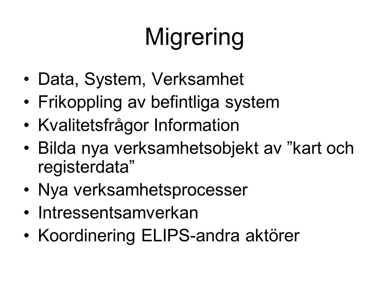 """Migrering Data, System, Verksamhet Frikoppling av befintliga system Kvalitetsfrågor Information Bilda nya verksamhetsobjekt av """"kart och registerdata"""""""