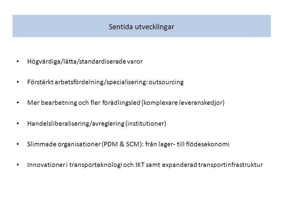 Sentida utvecklingar Högvärdiga/lätta/standardiserade varor Förstärkt arbetsfördelning/specialisering: outsourcing Mer bearbetning och fler förädlingsled (komplexare leveranskedjor) Handelsliberalisering/avreglering (institutioner) Slimmade organisationer (PDM & SCM): från lager- till flödesekonomi Innovationer i transporteknologi och IKT samt expanderad transportinfrastruktur