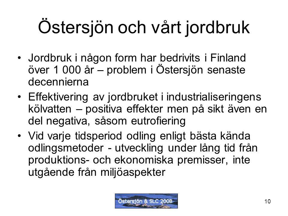 10 Östersjön och vårt jordbruk Jordbruk i någon form har bedrivits i Finland över 1 000 år – problem i Östersjön senaste decennierna Effektivering av jordbruket i industrialiseringens kölvatten – positiva effekter men på sikt även en del negativa, såsom eutrofiering Vid varje tidsperiod odling enligt bästa kända odlingsmetoder - utveckling under lång tid från produktions- och ekonomiska premisser, inte utgående från miljöaspekter