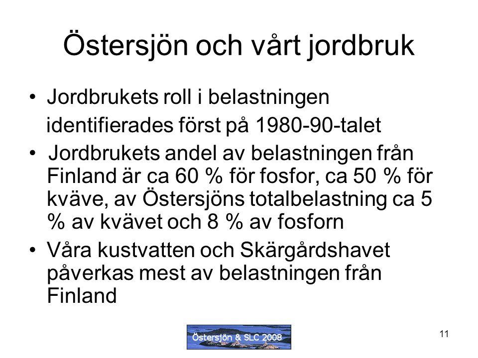 11 Östersjön och vårt jordbruk Jordbrukets roll i belastningen identifierades först på 1980-90-talet Jordbrukets andel av belastningen från Finland är ca 60 % för fosfor, ca 50 % för kväve, av Östersjöns totalbelastning ca 5 % av kvävet och 8 % av fosforn Våra kustvatten och Skärgårdshavet påverkas mest av belastningen från Finland