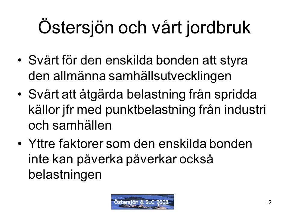 12 Östersjön och vårt jordbruk Svårt för den enskilda bonden att styra den allmänna samhällsutvecklingen Svårt att åtgärda belastning från spridda källor jfr med punktbelastning från industri och samhällen Yttre faktorer som den enskilda bonden inte kan påverka påverkar också belastningen