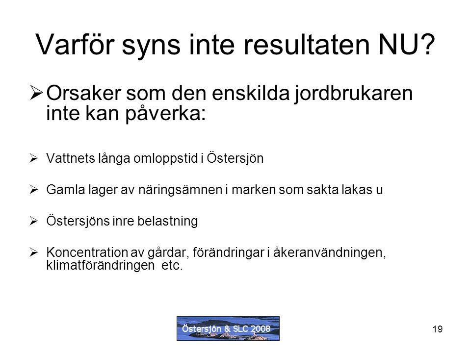 19 Varför syns inte resultaten NU?  Orsaker som den enskilda jordbrukaren inte kan påverka:  Vattnets långa omloppstid i Östersjön  Gamla lager av