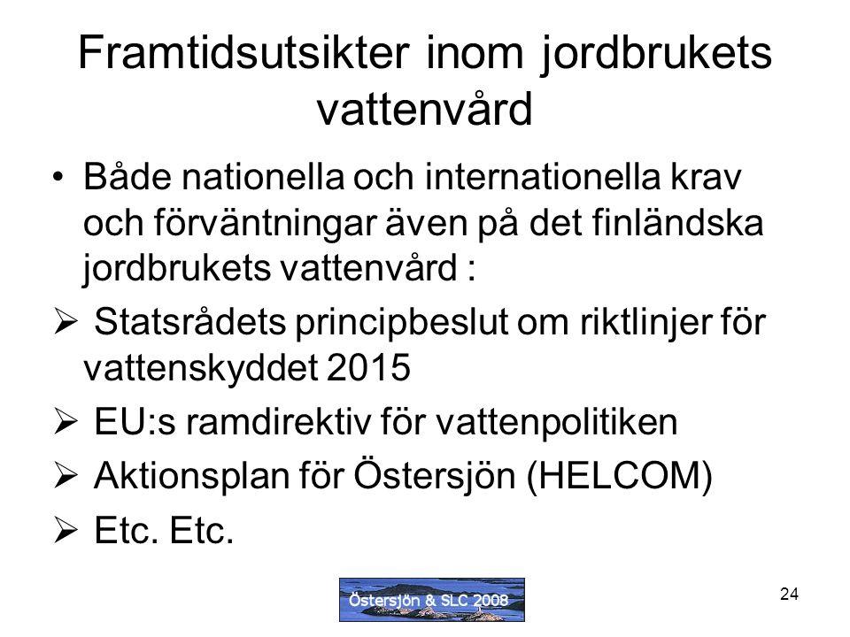 24 Framtidsutsikter inom jordbrukets vattenvård Både nationella och internationella krav och förväntningar även på det finländska jordbrukets vattenvård :  Statsrådets principbeslut om riktlinjer för vattenskyddet 2015  EU:s ramdirektiv för vattenpolitiken  Aktionsplan för Östersjön (HELCOM)  Etc.