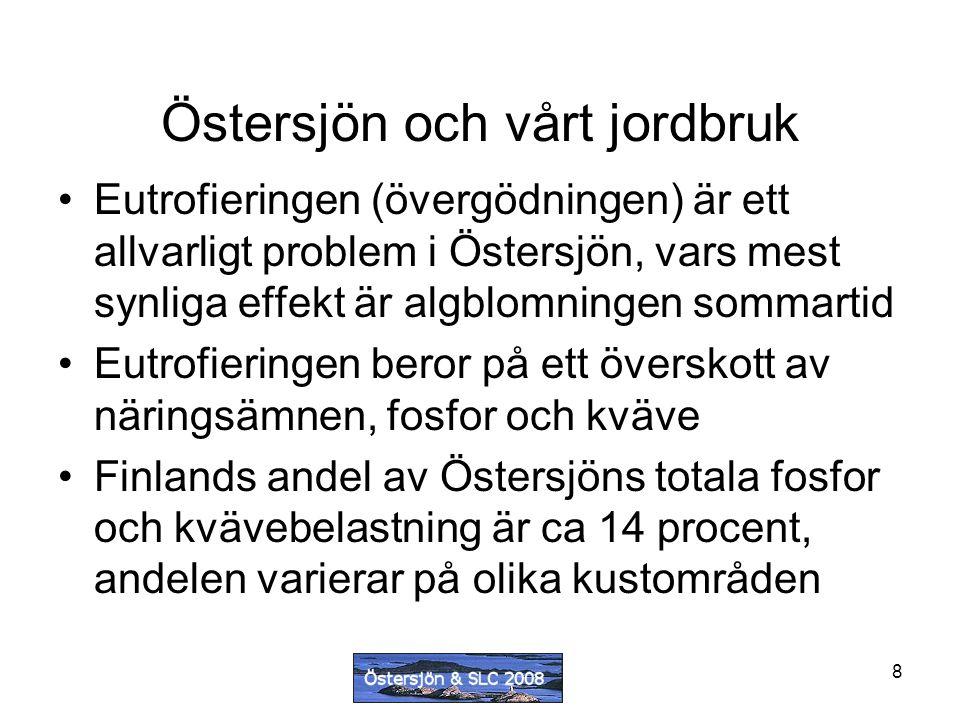 8 Eutrofieringen (övergödningen) är ett allvarligt problem i Östersjön, vars mest synliga effekt är algblomningen sommartid Eutrofieringen beror på ett överskott av näringsämnen, fosfor och kväve Finlands andel av Östersjöns totala fosfor och kvävebelastning är ca 14 procent, andelen varierar på olika kustområden