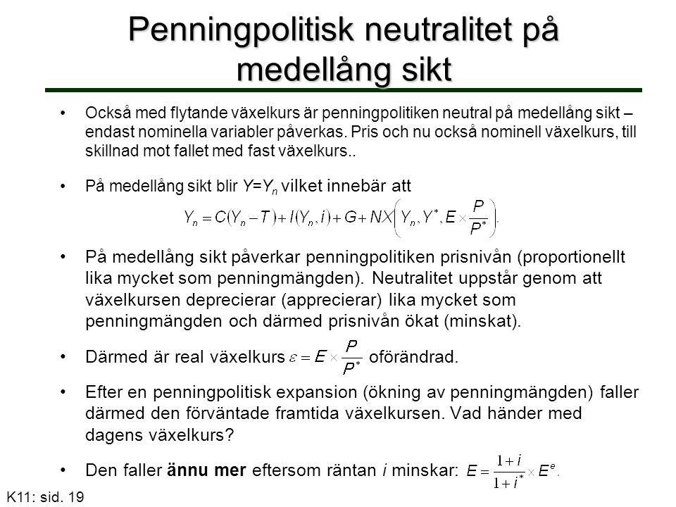 Penningpolitisk neutralitet på medellång sikt Också med flytande växelkurs är penningpolitiken neutral på medellång sikt – endast nominella variabler påverkas.
