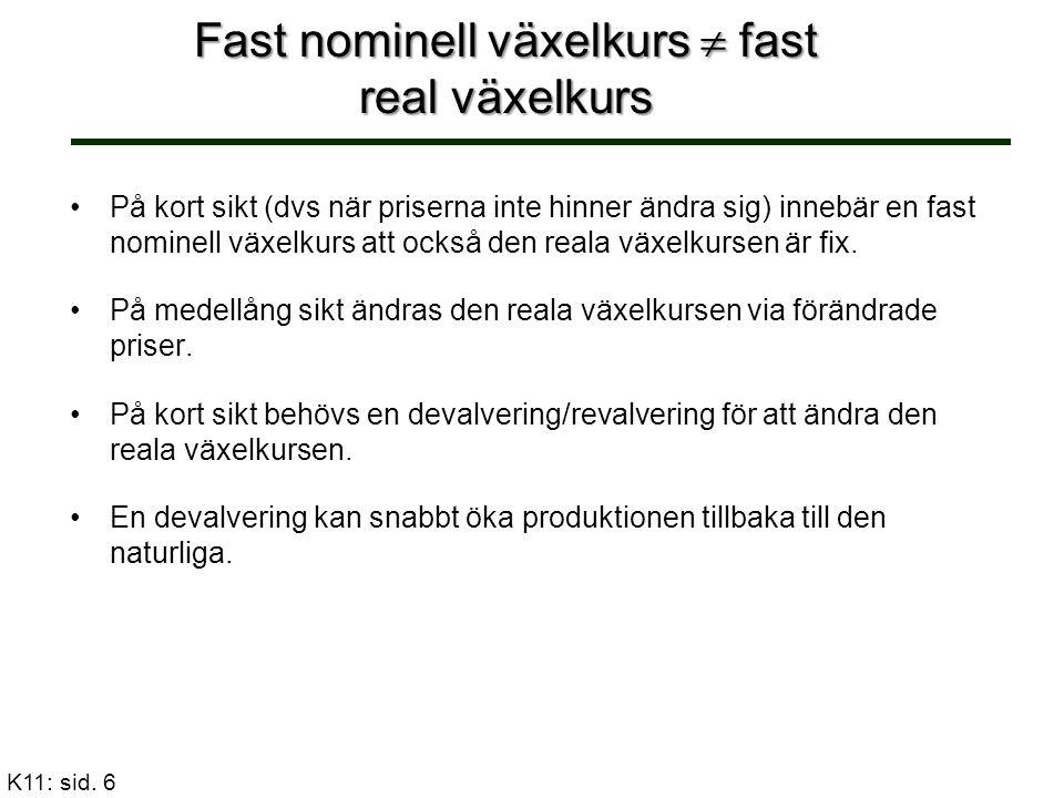 Härledning av AD-kurvan Med fast växelkurs ser centralbanken till att räntan blir oberoende av inhemsk produktion.