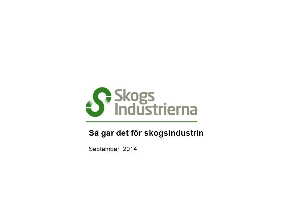 Valutaindex för trävaruexport , 2000 – september 2014 Källa: Sveriges Riksbank, Skogsindustrierna