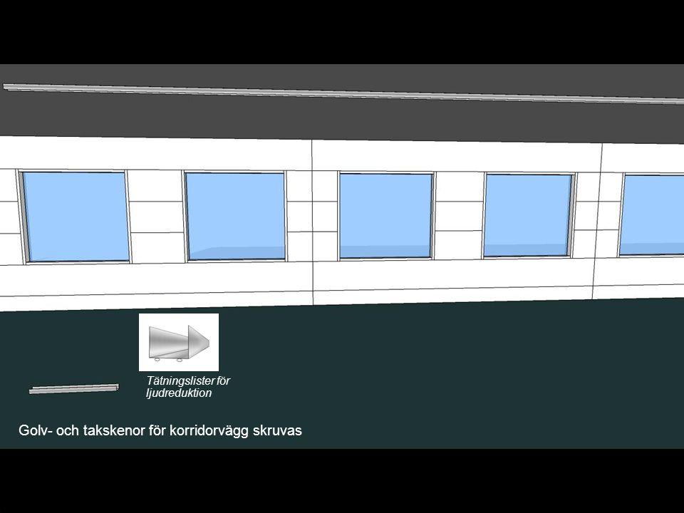 Golv- och takskenor för korridorvägg skruvas Tätningslister för ljudreduktion