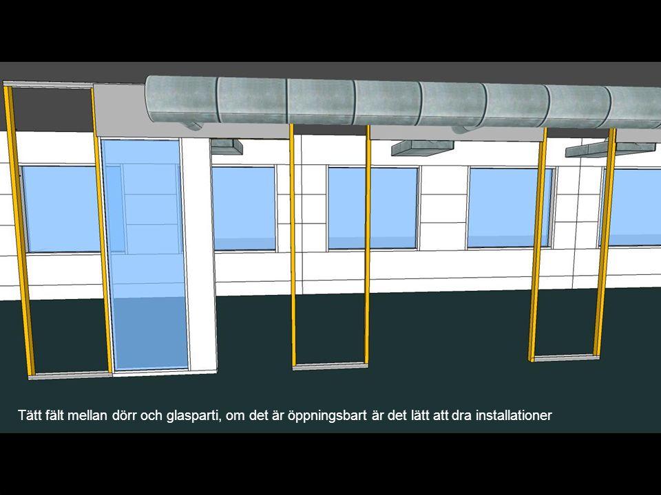 Tätt fält mellan dörr och glasparti, om det är öppningsbart är det lätt att dra installationer