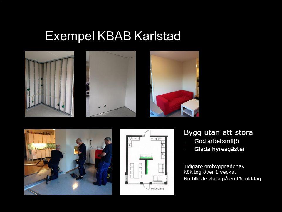 Exempel KBAB Karlstad Bygg utan att störa - God arbetsmiljö - Glada hyresgäster Tidigare ombyggnader av kök tog över 1 vecka. Nu blir de klara på en f