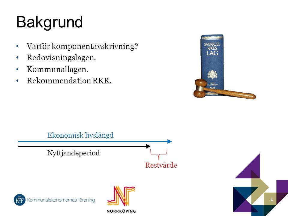 Bakgrund Varför komponentavskrivning. Redovisningslagen.