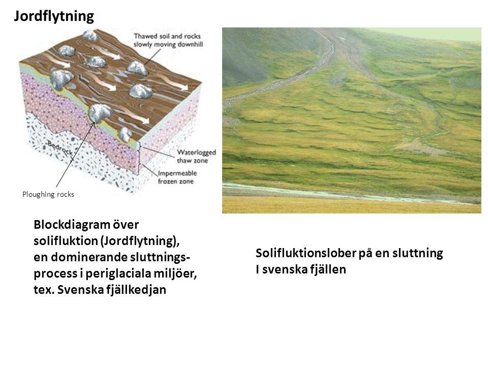 Blockdiagram över solifluktion (Jordflytning), en dominerande sluttnings- process i periglaciala miljöer, tex.
