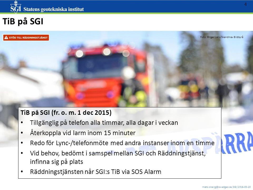 mats.oberg@swedgeo.se/SGI/2016-03-20 5 http://www.livsmedelsverket.se/globalassets/produktion-handel-kontroll/krisberedskap/krisberedskap-dricksvatten---vaka/information-om-vaka.pdf VAKA - Nationell vattenkatastrofgrupp VAKA är en stödfunktion som nås dygnet runt via SOS-alarm på tel.